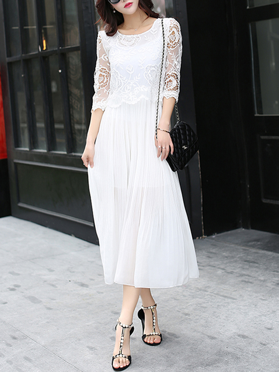 Flowy Decorative Lace Hollow Out Plain Chiffon Maxi Dress