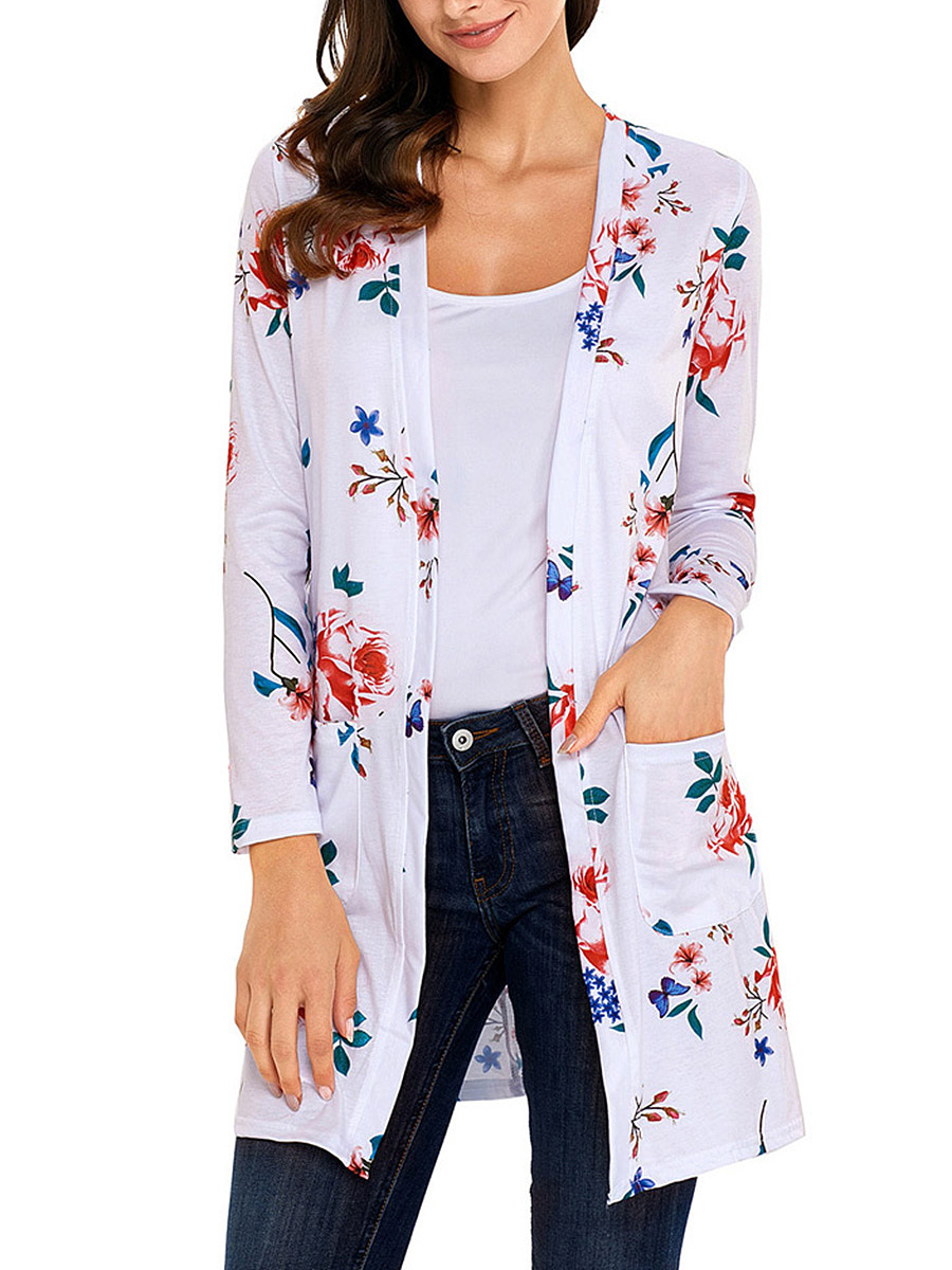 Collarless Floral Printed Patch Pocket Cardigan