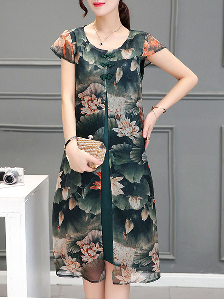 Round Neck Lotus Printed Chiffon Shift Dress