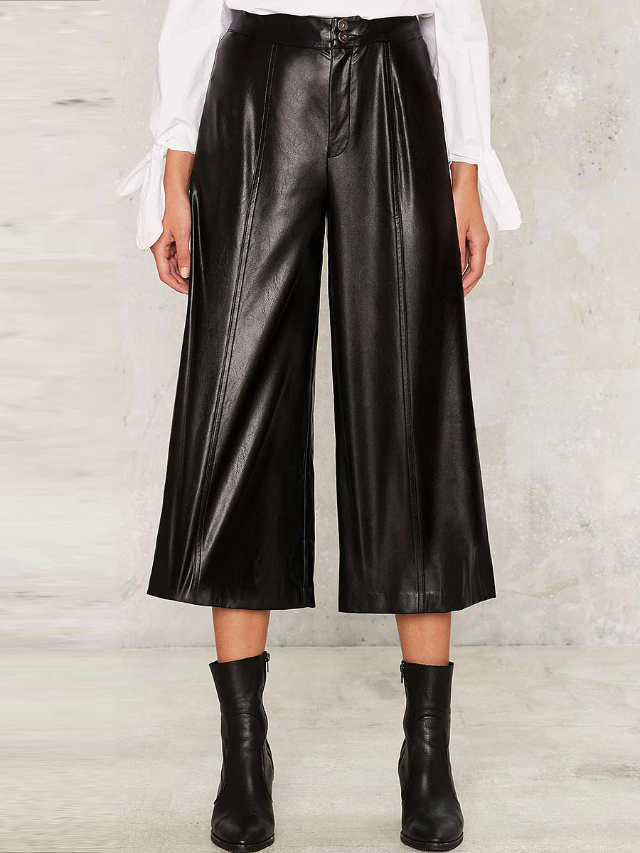 Black PU Leather Wide-Leg Cropped Pants