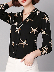 Split Neck Starfish Printed Long Sleeve T-Shirt