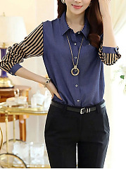 Fold Over Collar  Single Breasted  Color Block Striped Blouses