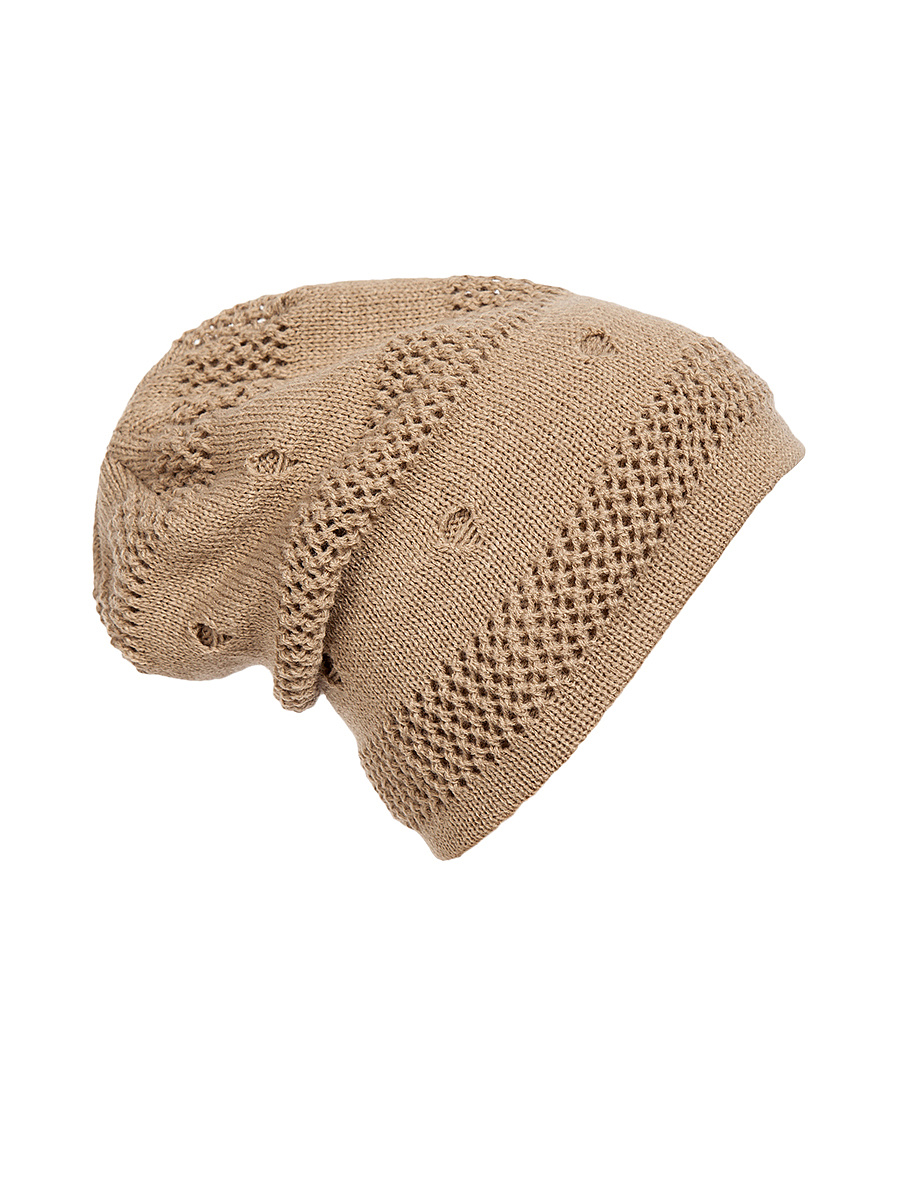 Knit Ripped Hollow Out Plain Hat