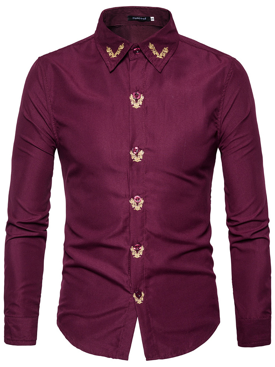 Contrast Embroidery Men Shirts