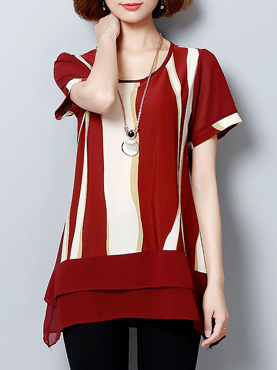 Asymmetric Stripe Color Block Round Neck Blouse