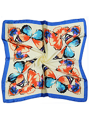 Blue Butterfly  Printed Silk Scarf