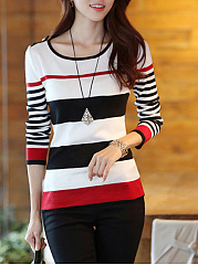 Round-Neck-Striped-Knitted-Long-Sleeve-T-Shirt