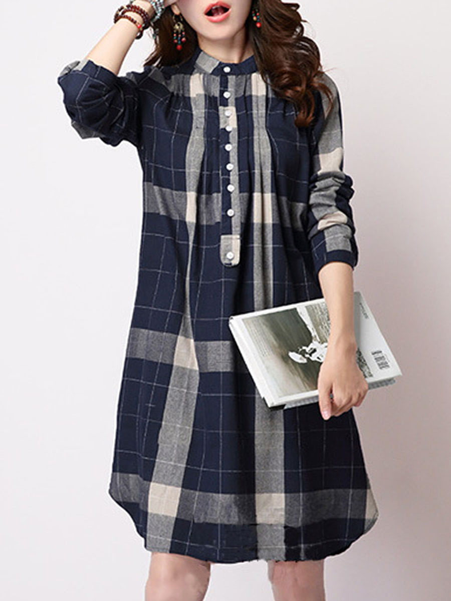 Band Collar Plaid Curved Hem Shift Dress