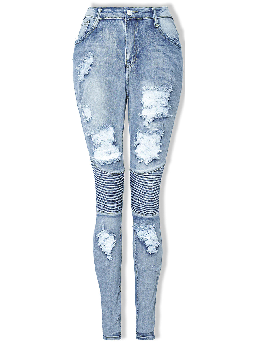 Distressed Light Wash Slim-Leg Jean