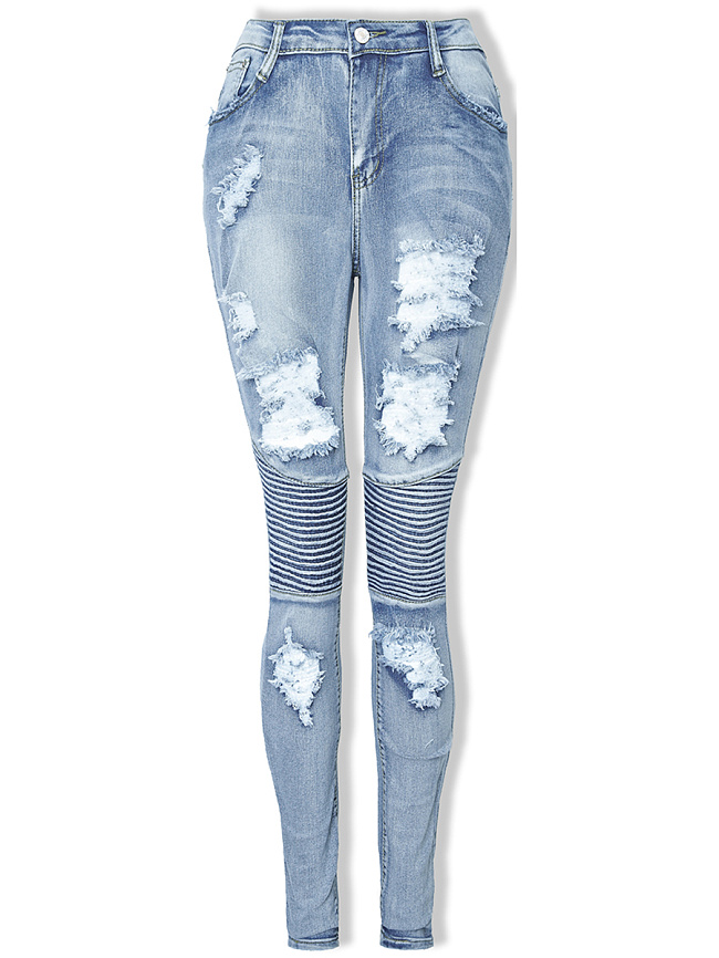 Fashionmia Distressed Light Wash Slim-Leg Jean