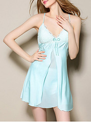 Spaghetti Strap  Decorative Lace  Chiffon Nightgown
