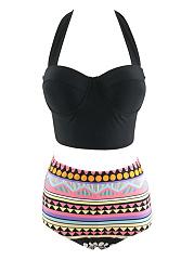 Halter-Lace-Up-Printed-Bikini