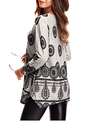 Round Neck  Printed Loose Long Sleeve T-Shirt