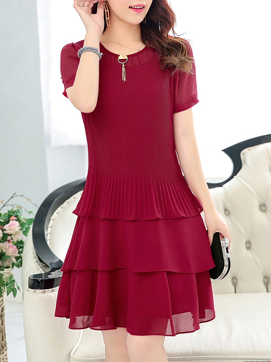 Round Neck  Tiered  Plain  Blend Skater Dress