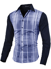 Turn-Down-Collar-Plaid-Men-Shirts