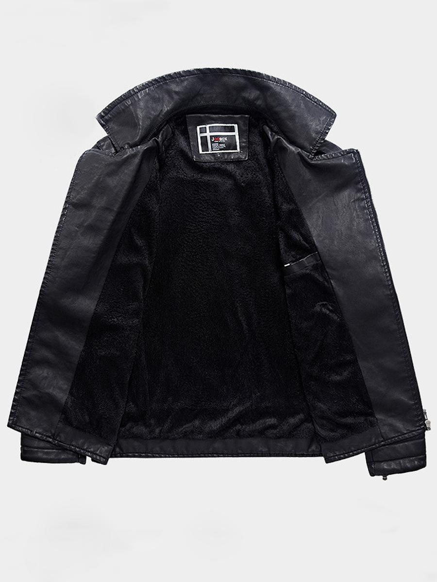 Lapel Plain Men Quilted Fleece Lined PU Leather Jacket ... : men quilted leather jacket - Adamdwight.com