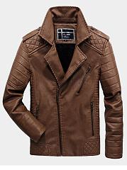 Lapel-Plain-Men-Quilted-Fleece-Lined-PU-Leather-Jacket