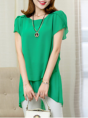 Solid High-Low Petal Sleeve T-Shirt