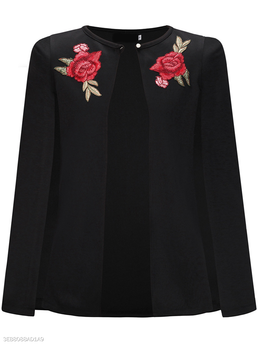 Single Button  Embroidery  Cape Sleeve Cape