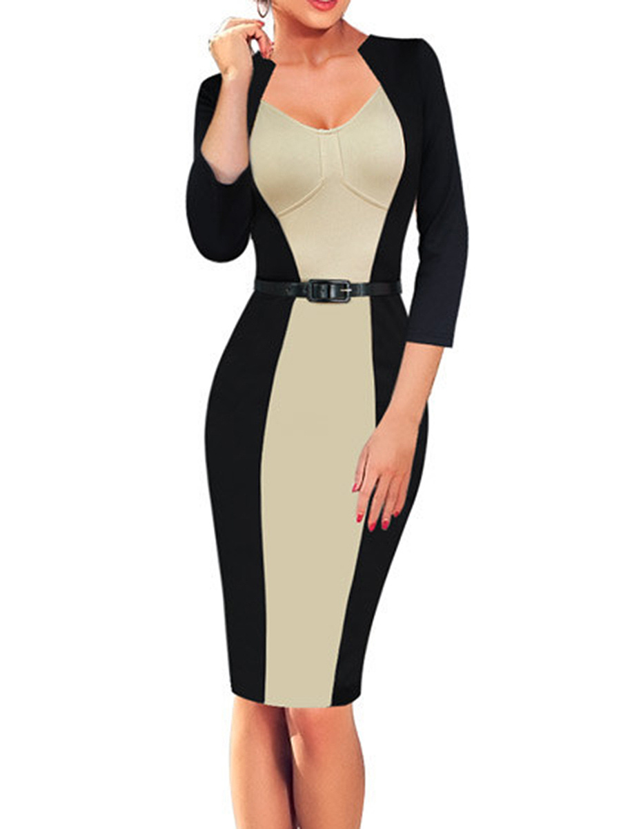 Asymmetric Neck Color Block Belt Slit Bodycon Dress