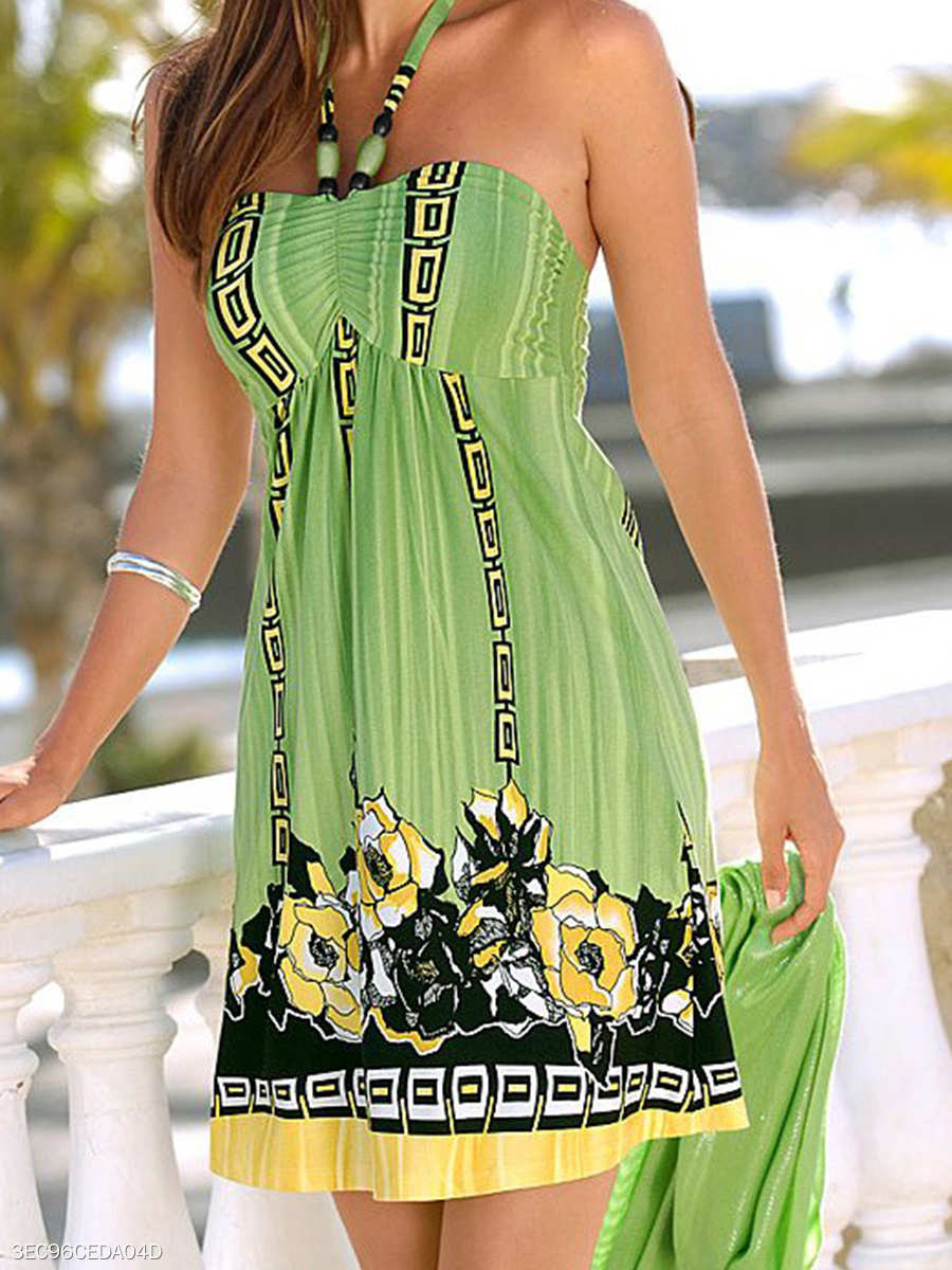 Halter  Print Shift Dress
