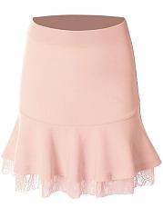 Mermaid-Decorative-Lace-Plain-Midi-Skirt