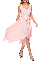 Asymmetric Hem Belt Plain Sweet Heart Skater Dress
