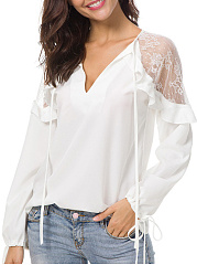 V Neck  Loose Fitting Patchwork  Lace Blouses