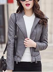 Lapel-Zips-PU-Leather-Plain-Biker-Jacket