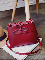 Pu Plain Bowknot Crossbody Bag