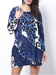 Leopard Round Neck Mini Shift Dress