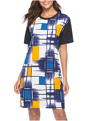 Round Neck  Color Block Geometric Bodycon Dress