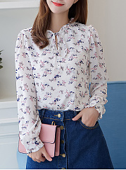 Tie-Collar-Floral-Printed-Chiffon-Long-Sleeve-T-Shirt