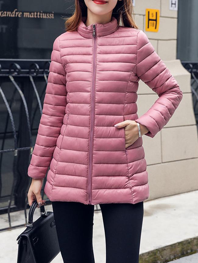 Image of Fashionmia Band Collar Slit Pocket Zips Plain Long Sleeve Coats