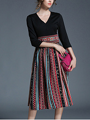 Round Neck  Patchwork  Printed  Polyester Maxi Dress