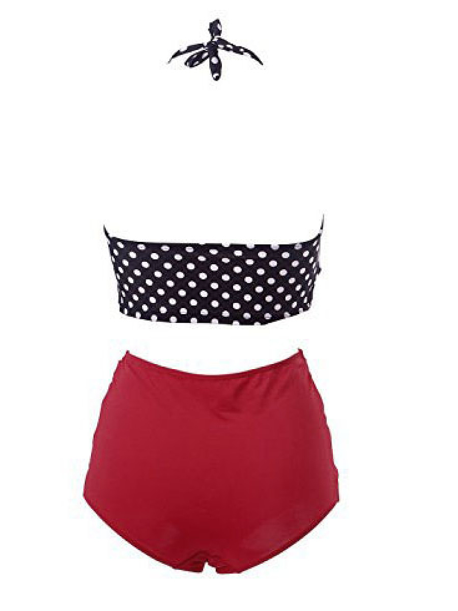 Polka Dot Striped  High-Rise Bikini
