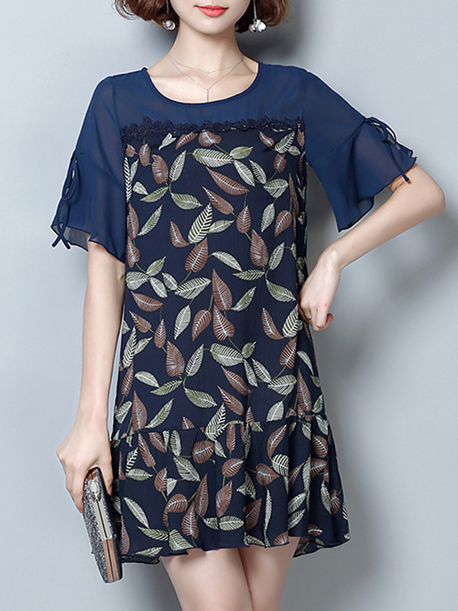 Bell Sleeve Hollow Out Leaf Printed Chiffon Shift Dress