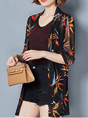 Collarless  Floral Printed  Three-Quarter Sleeve Cardigans