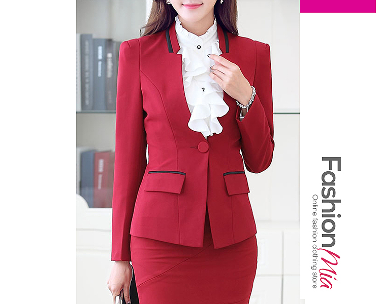 Autumn Spring  Polyester  Collarless  Single Button  Plain  Long Sleeve Outerwear Blazers