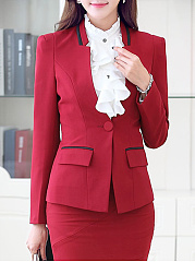 Autumn Spring  Polyester  Collarless  Single Button  Plain  Long Sleeve Outerwear Blazers