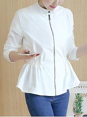 Drawstring-Zips-Plain-Long-Sleeve-Jackets