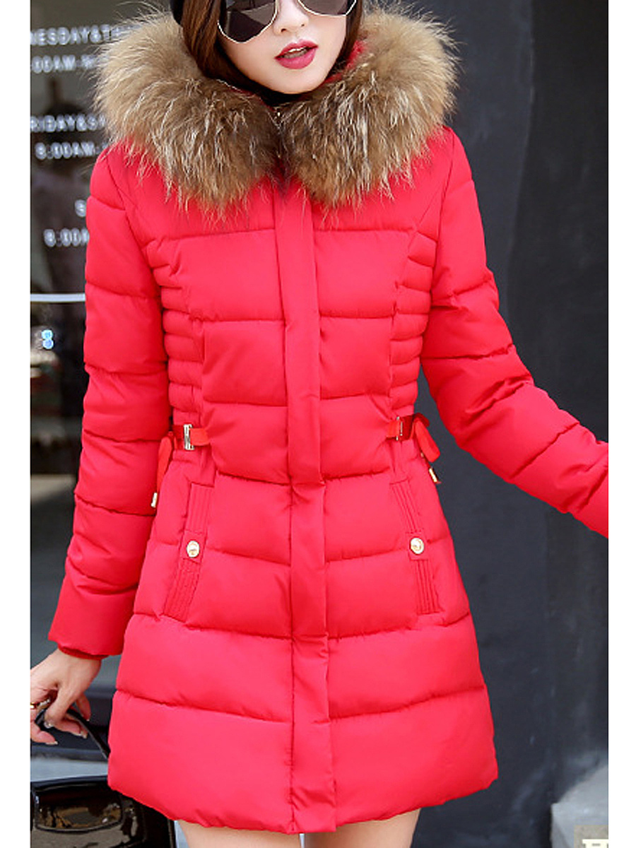Hooded Pocket Quilted Plain Fur Collar Coat