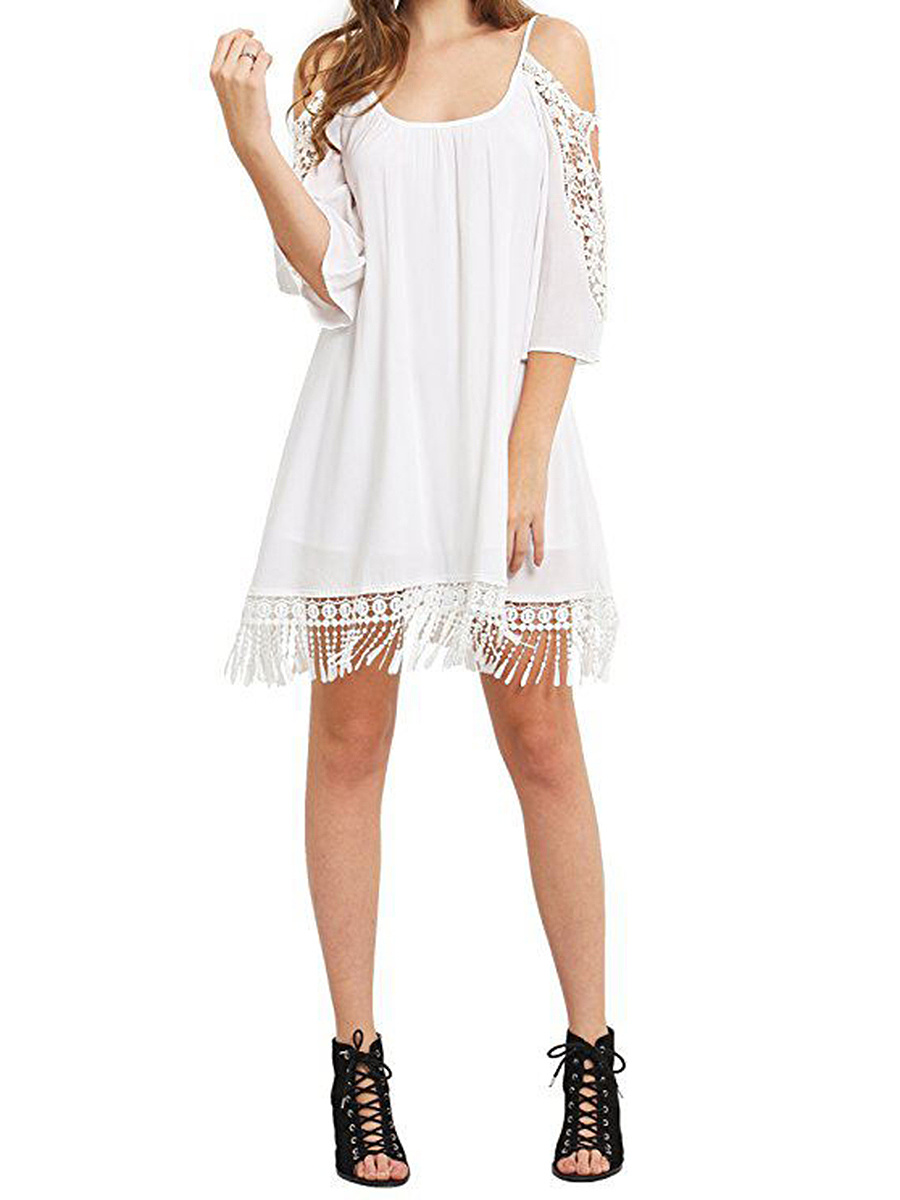 Spaghetti Strap  Fringe Patchwork  Plain Shift Dress