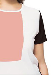 Round Neck  Patchwork  Color Block  Short Sleeve Plus Size Blouses&T-Shirt
