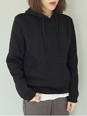 Patch Pocket  Plain  Long Sleeve Hoodies