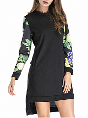 Round Neck  Asymmetric Hem Patchwork  Printed Shift Dress