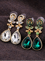 Green Imitated Imitated Crystal Boho Earrings