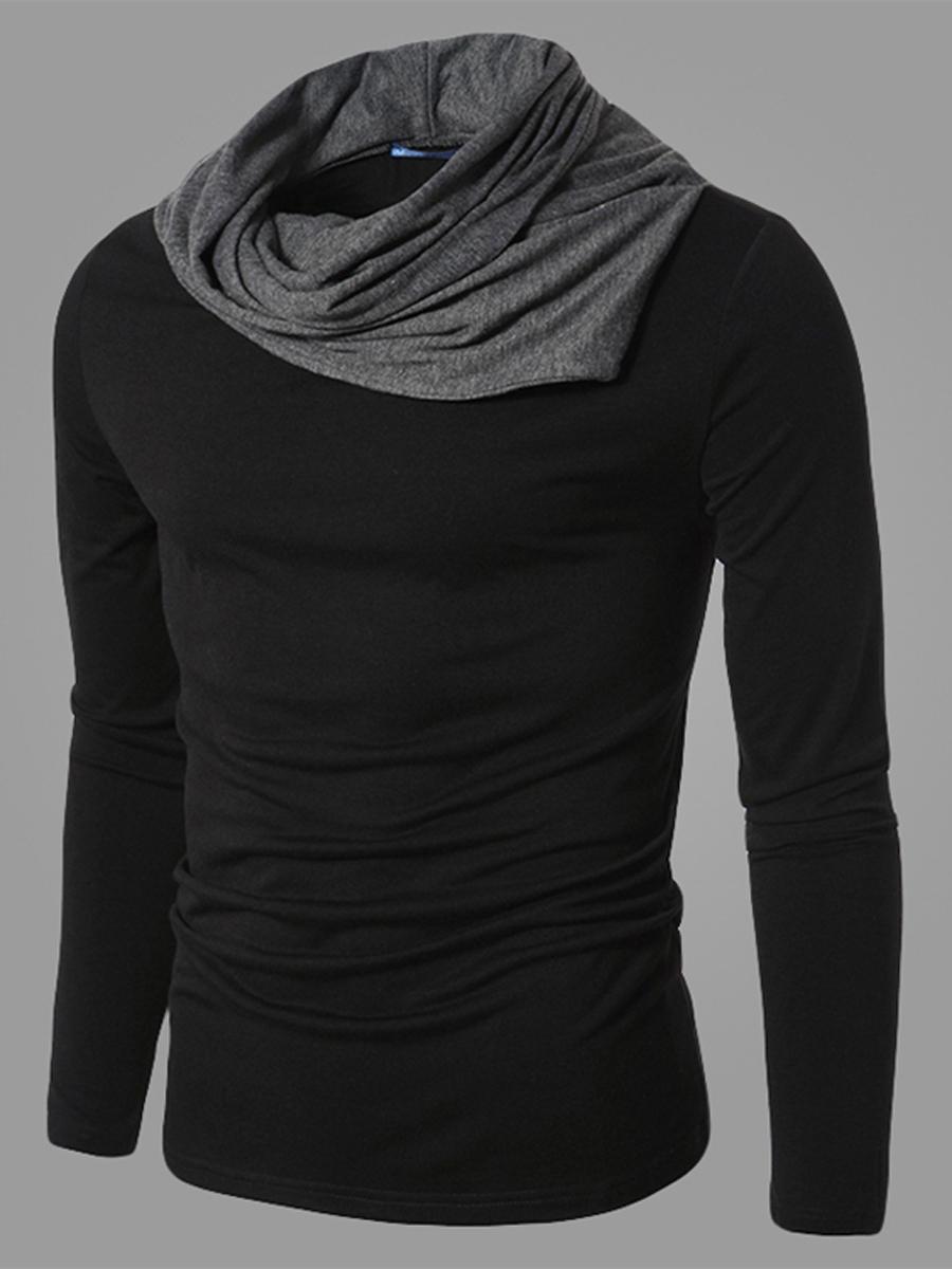 casual date autumn winter Contrast Cowl Neck Men'S Knitwear