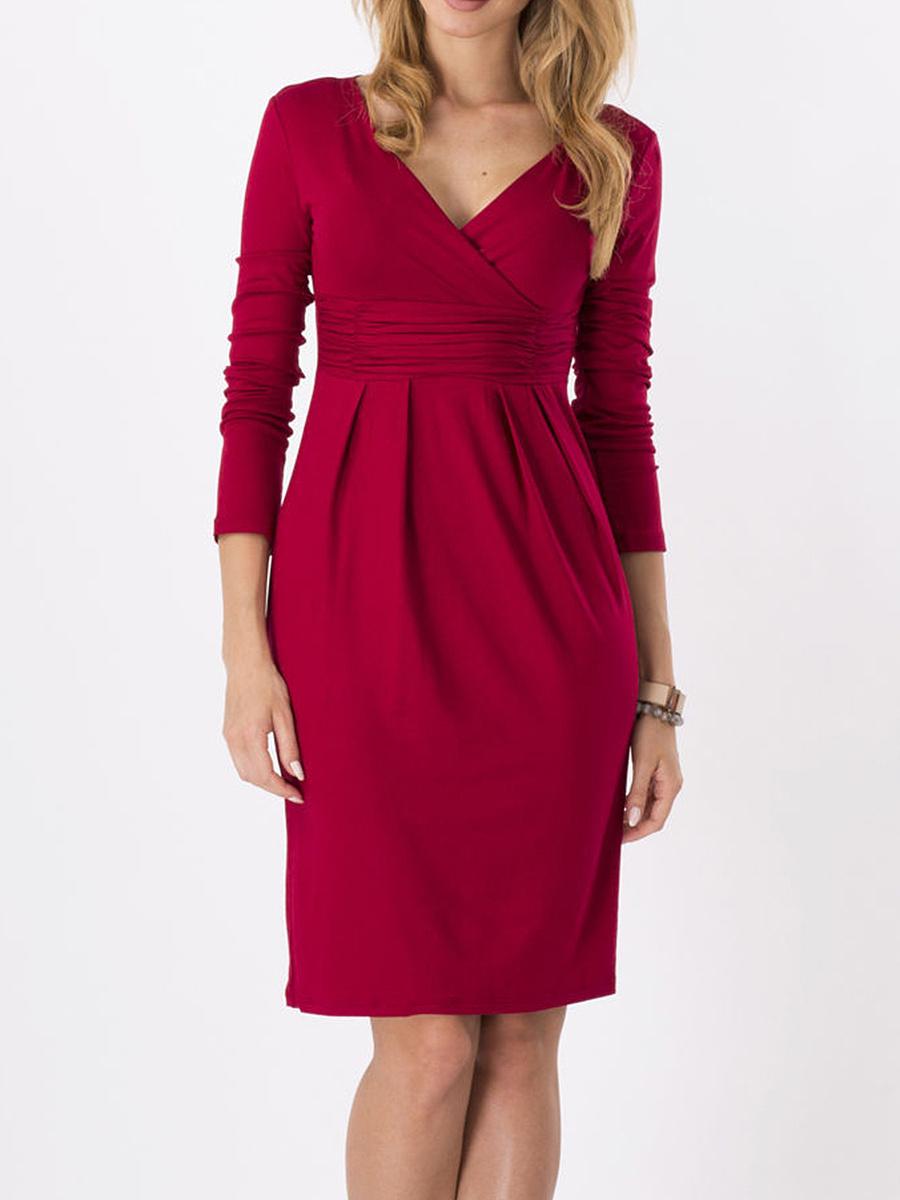 Surplice  Plain  Blend Bodycon Dress