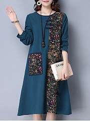 Round Neck  Patch Pocket Patchwork  Decorative Button  Printed Shift Dress